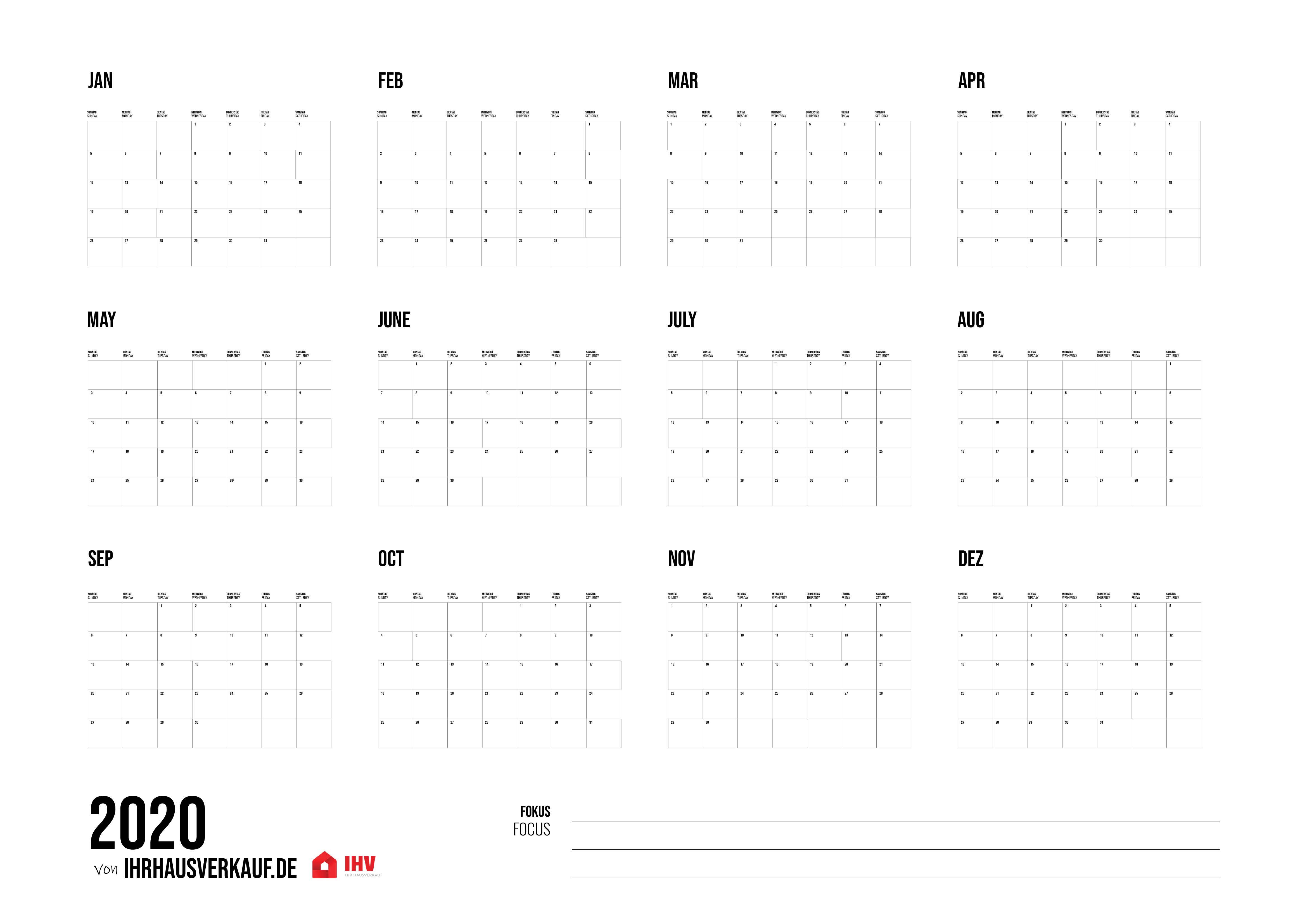 Kalender 2020 Zum Ausdrucken Alle Monate 14