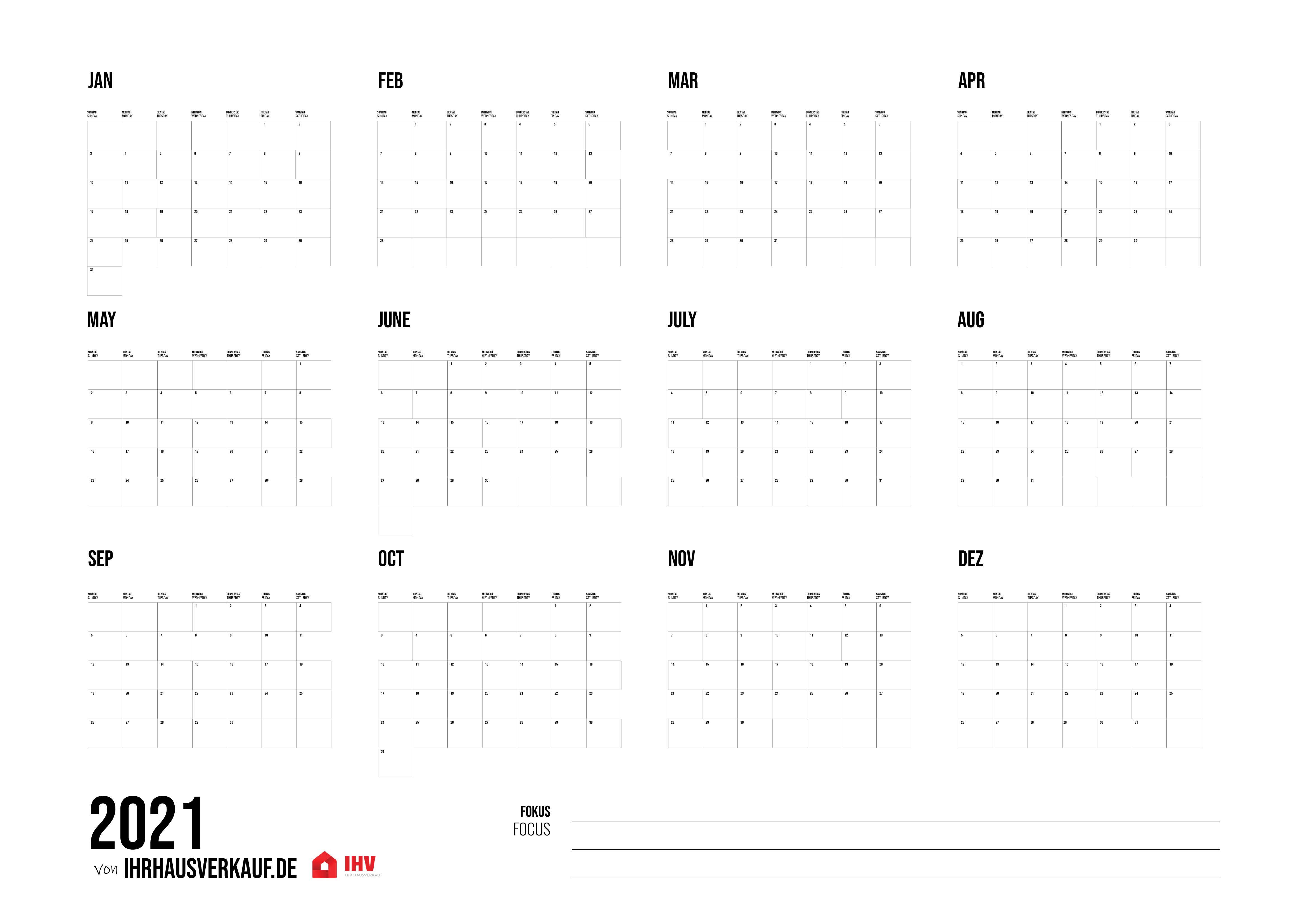 Kalender 2021 Zum Ausdrucken Alle Monate Und Wochen Als Pdf 12 1 Vorlage Kostenlos Lukinski Immobilien