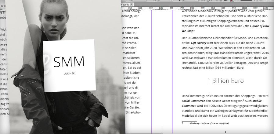 """Bildmontage, Buch und Text-Dokument vom Buch """"Social Media Marketing"""""""