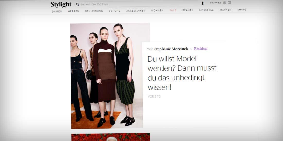 Interview 'Model werden' auf Stylelight.de