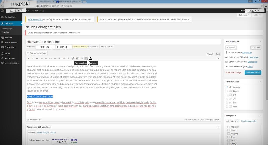 wordpress-bloggin-step3-werkzeugleiste