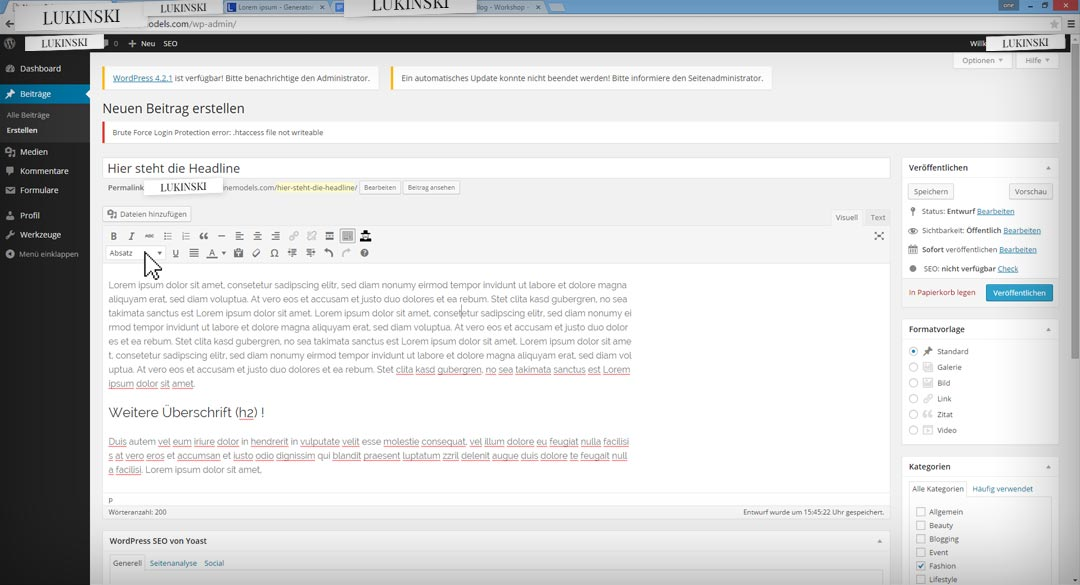 wordpress-bloggin-step4-ueberschrift-editor
