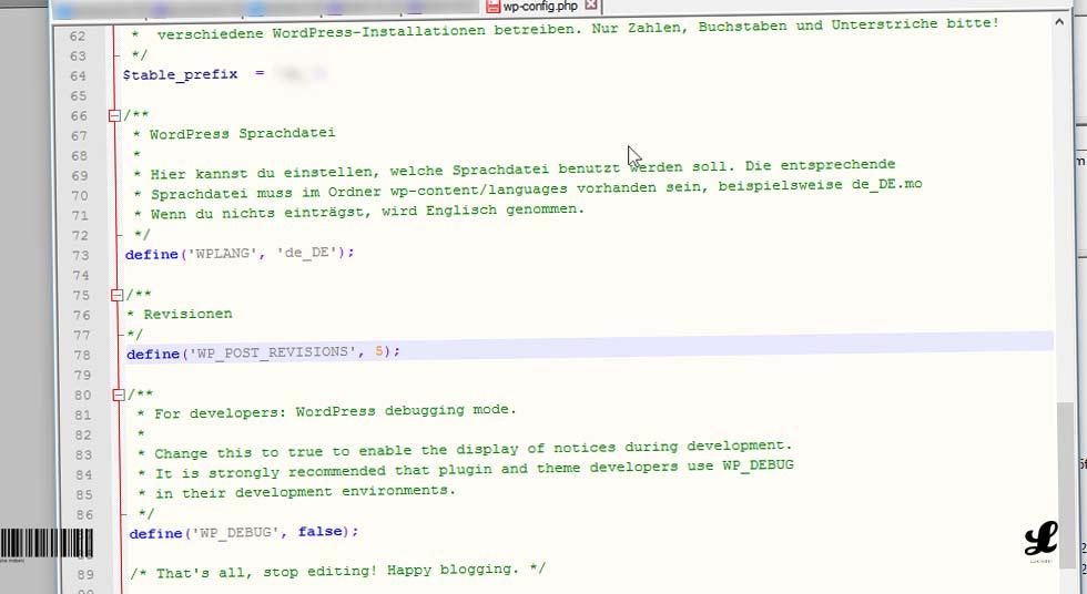 website-wordpress-seiten-beitraege-revisionen-deaktivieren-begrenzen-wp-config-datei