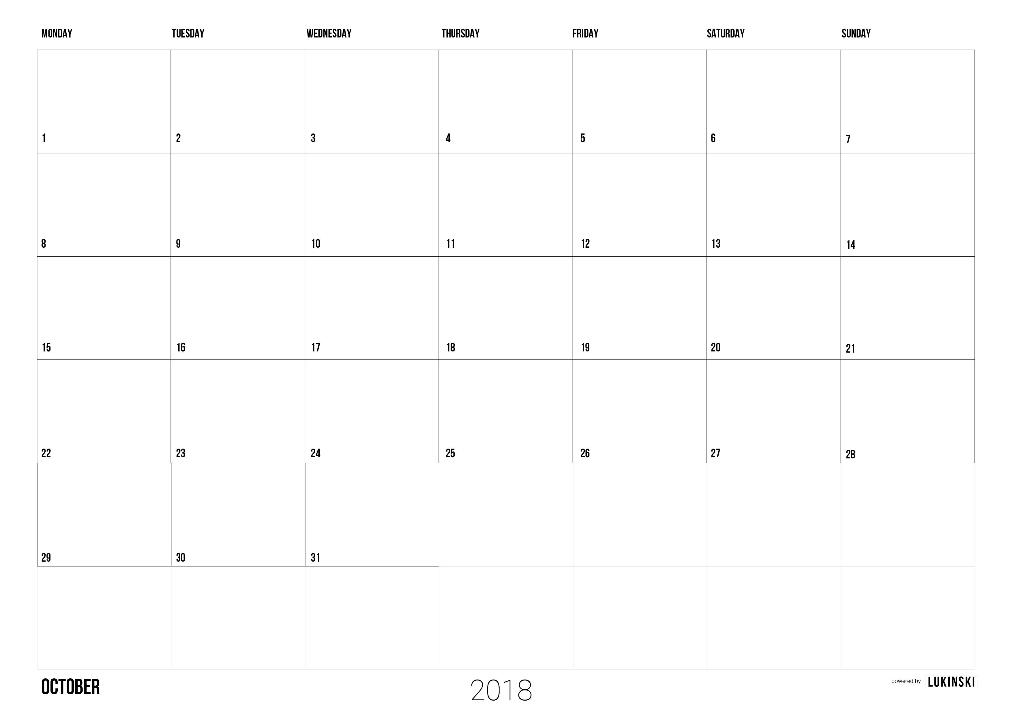 oktober 2018 kalender ausdrucken kostenlos monatskalender